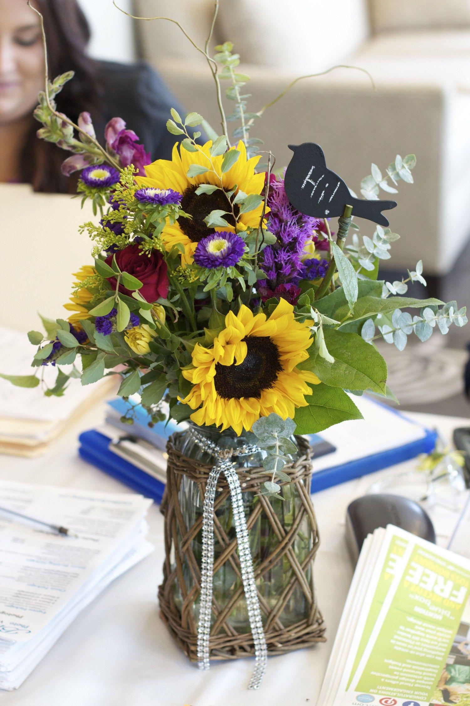 Rustic glam wedding centerpiece sunflowers mums