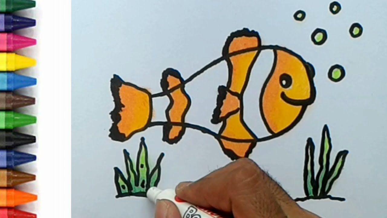 Cara Menggambar Dan Mewarnai Ikan NEMO Untuk Anak TK