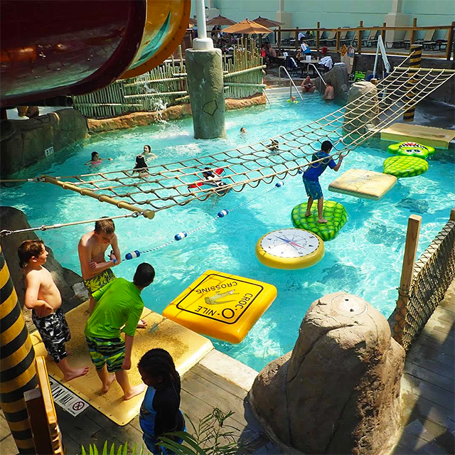 Jump Into Fun At A Pocono Mountains Waterpark Can You Make It Across At Aquatopia Indoor Waterpark Poconomtns Indoor Waterpark Water Park Water Playground