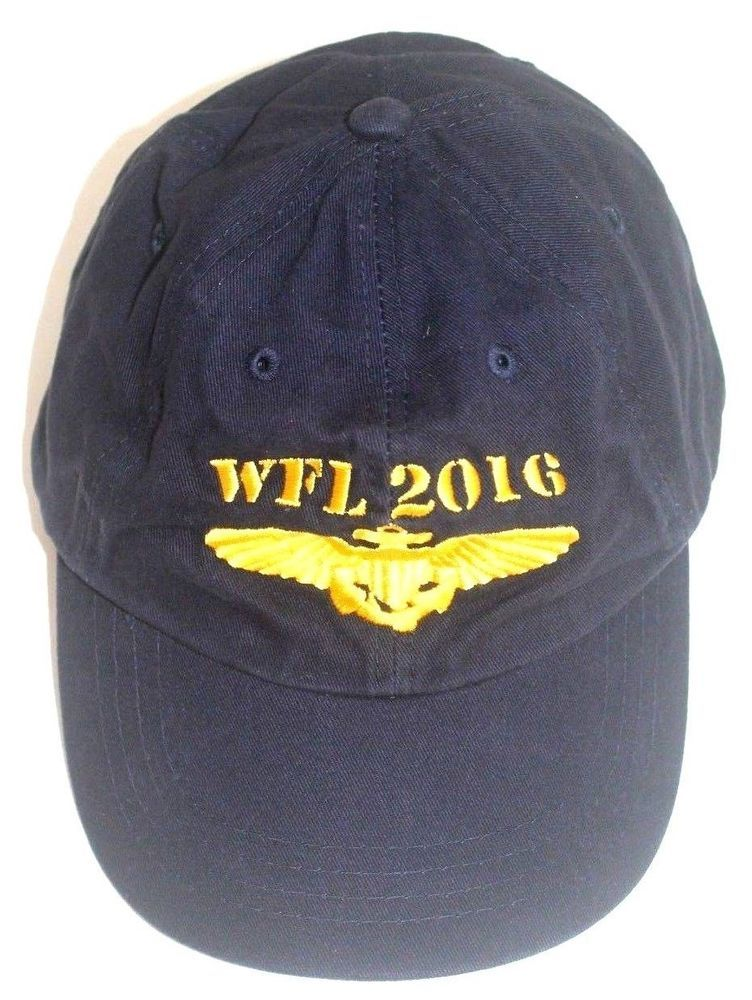a52c5dc498d Embroidered Gold WFL 2016 US Naval Aviator Wings Navy Blue Baseball Cap  OSFM  Unbranded
