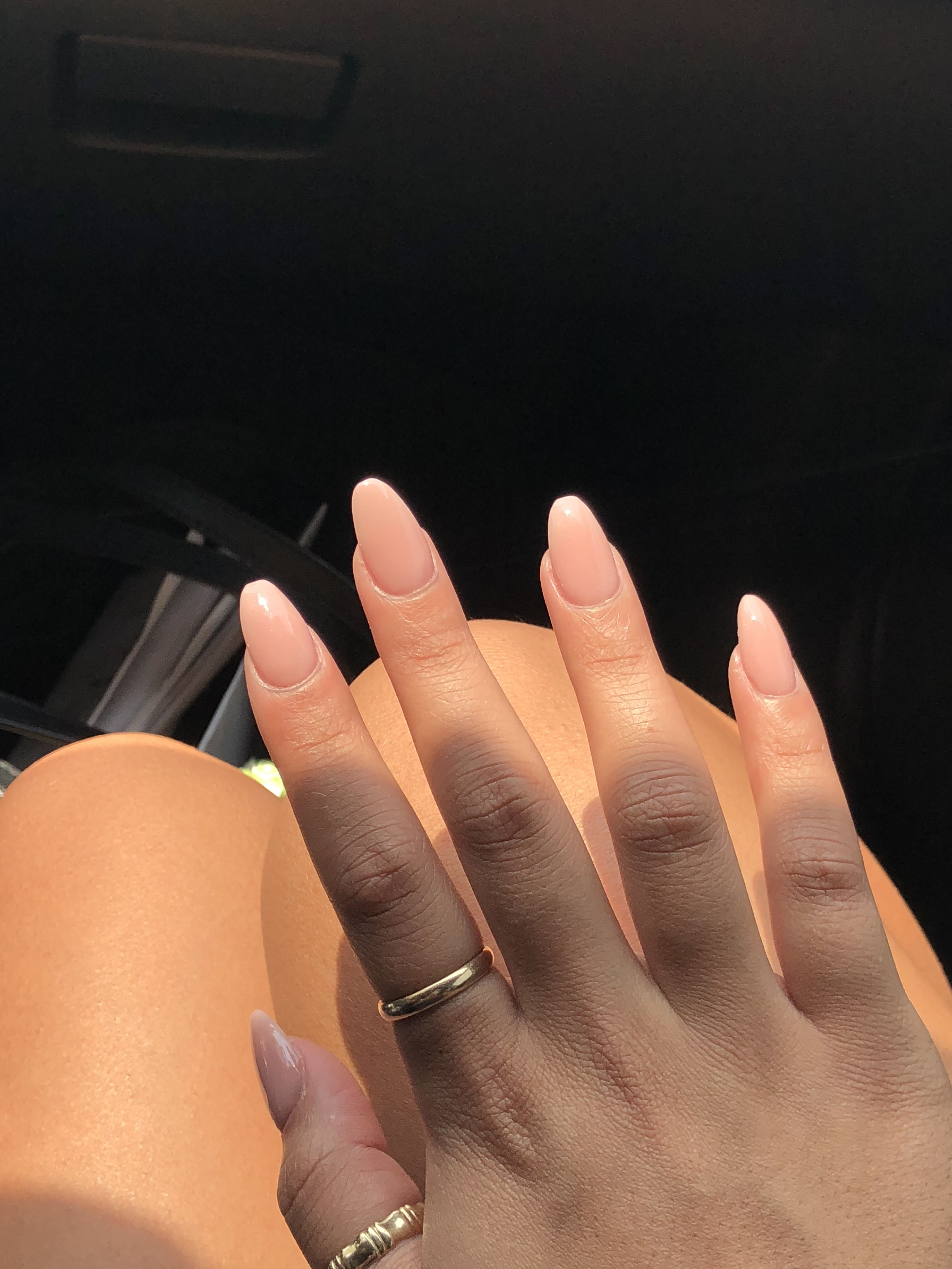 Pink Powder Almond Nails Rounded Acrylic Nails Almond Nails Pink Best Acrylic Nails