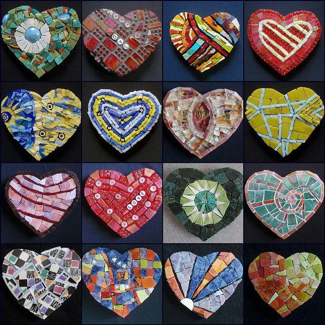 Heart mosaics by gilamosaics.com