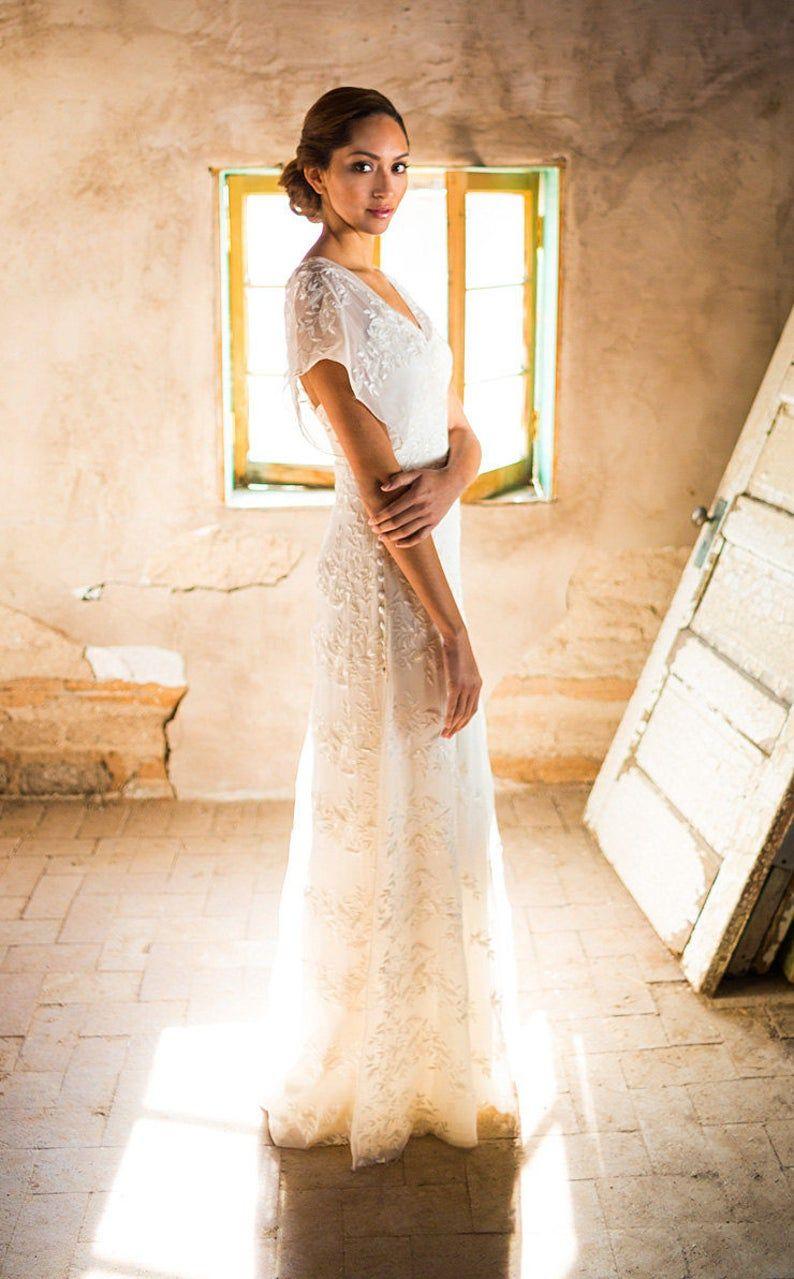 Casual wedding dress simple wedding dress backyard