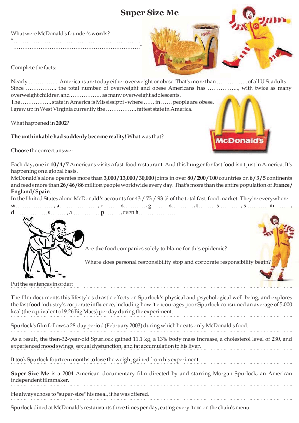 movie worksheet super size me  tesol  super size me college  click to close or click and drag to move super size me college essay  examples