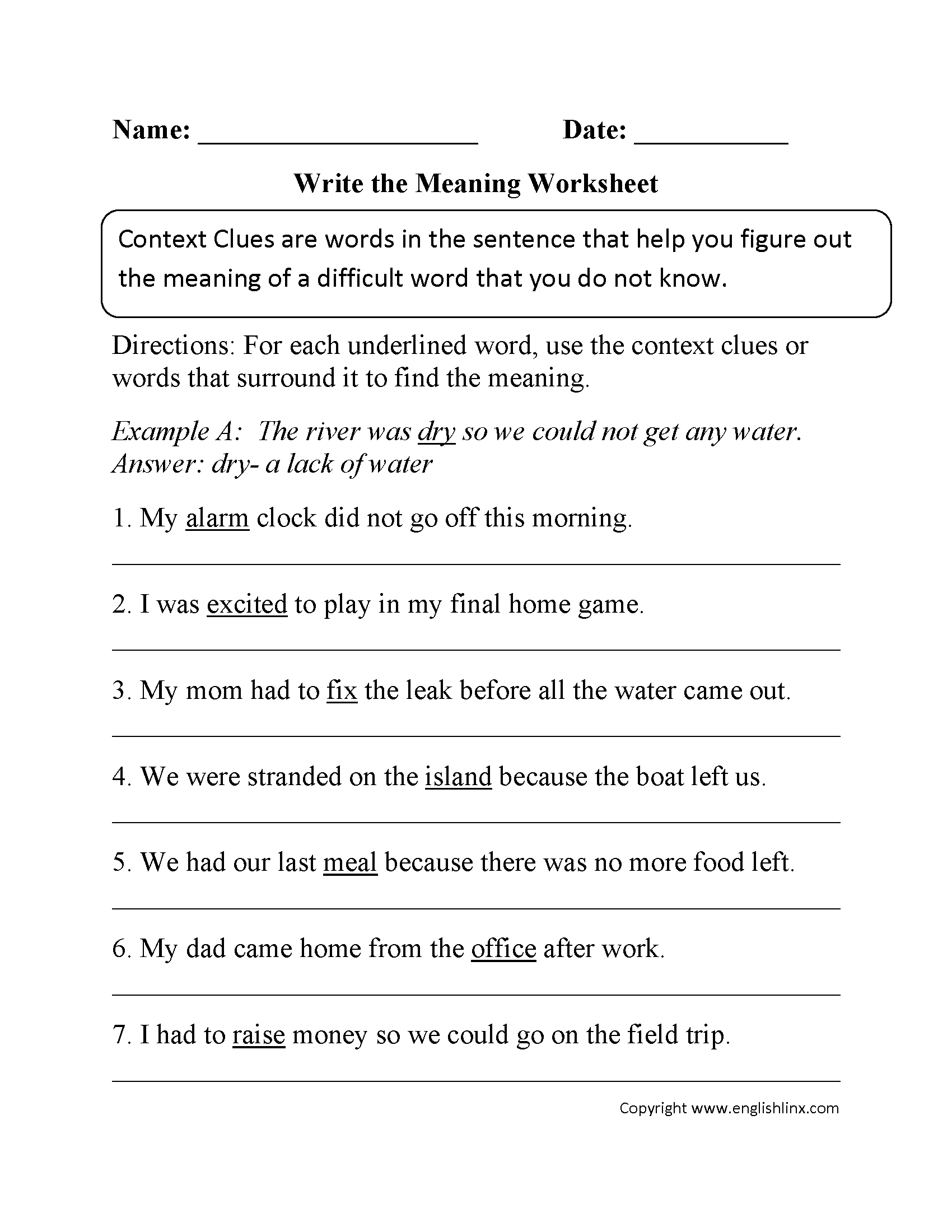 Write The Meaning Context Clues Worksheet
