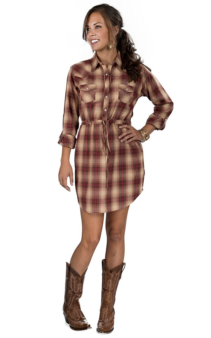Panhandle Slim® Women's Tan & Red Plaid Long Sleeve ...