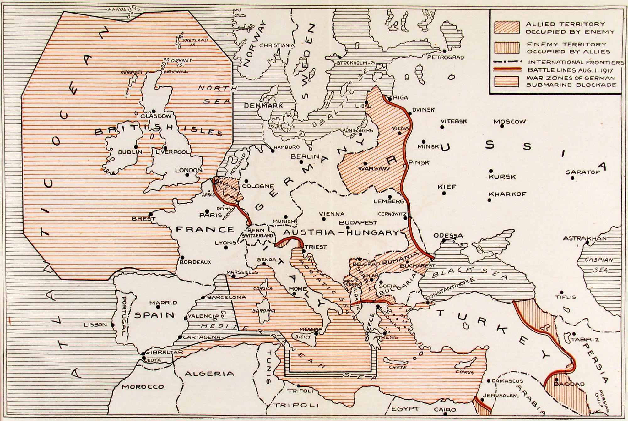 Europe At War Battle Lines On All Fronts August Map - 1917 1918 us in europe battles map