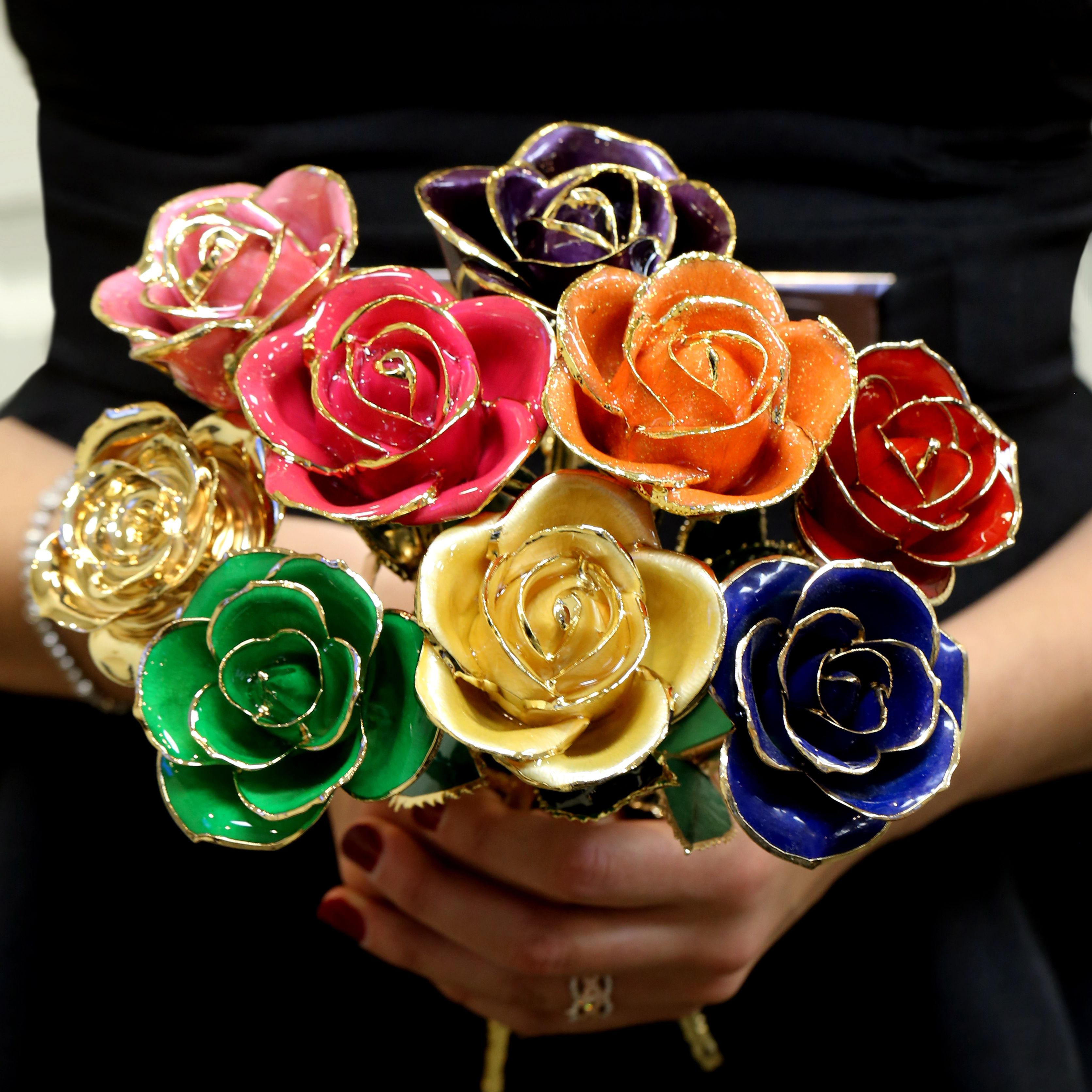 Steven Singer Jeweler Gold Dipped Rose Rose Just Peachy