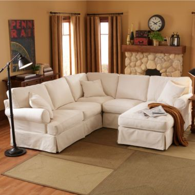 Friday Twill Slipcovered Sectional Group Found At Jcpenney
