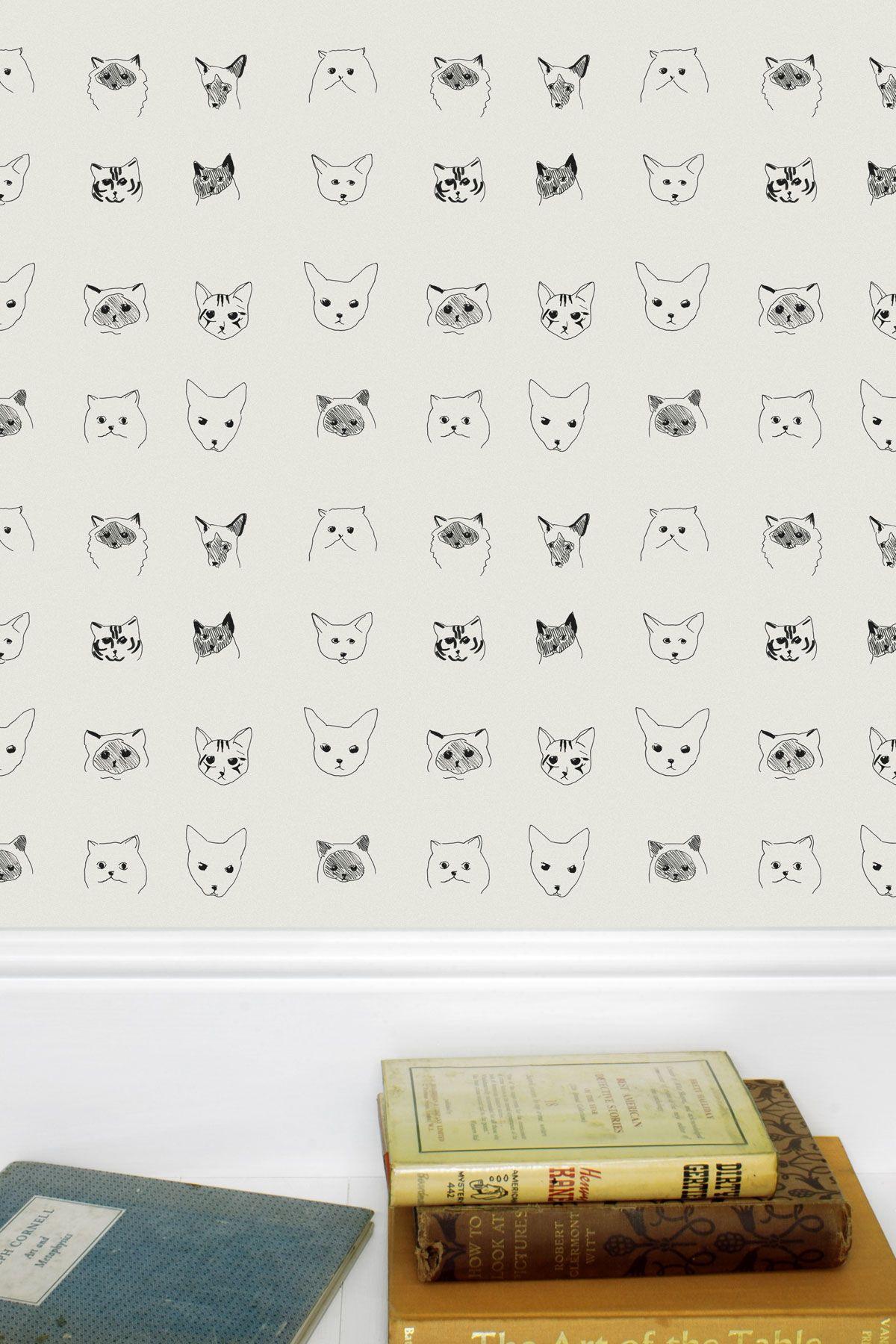 Cats Wallpaper Grey Childrens bedroom wallpaper, Cat