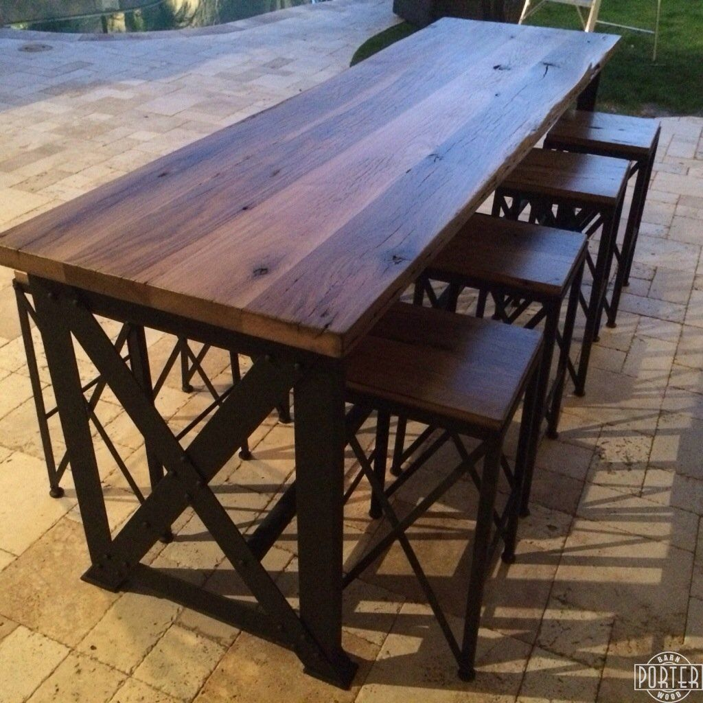 outdoor bar table and chairs tables reclaimed oak ash porter barn wood