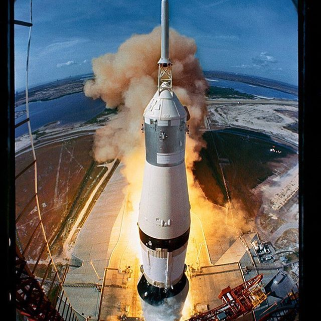 """life: """"On July 16, 1969, Apollo 11, the first mission to land astronauts on the moon was launched. Pictured here is the Saturn V rocket lifting the Apollo 11 astronauts towards their manned mission to the Moon. (Ralph Morse—The LIFE Picture..."""