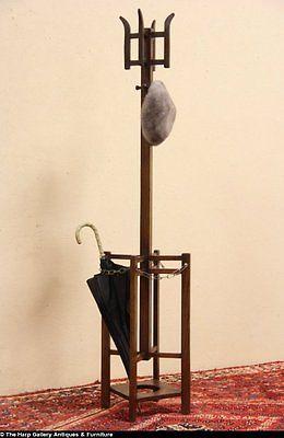 Arts Crafts Mission Oak 1905 Hall Umbrella Stand Coat Tree Ebay