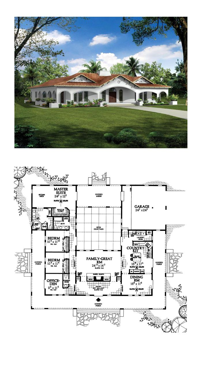 Southwest Style House Plan 90268 With 3 Bed 3 Bath 2 Car Garage Courtyard House Plans Vintage House Plans Hacienda Style Homes