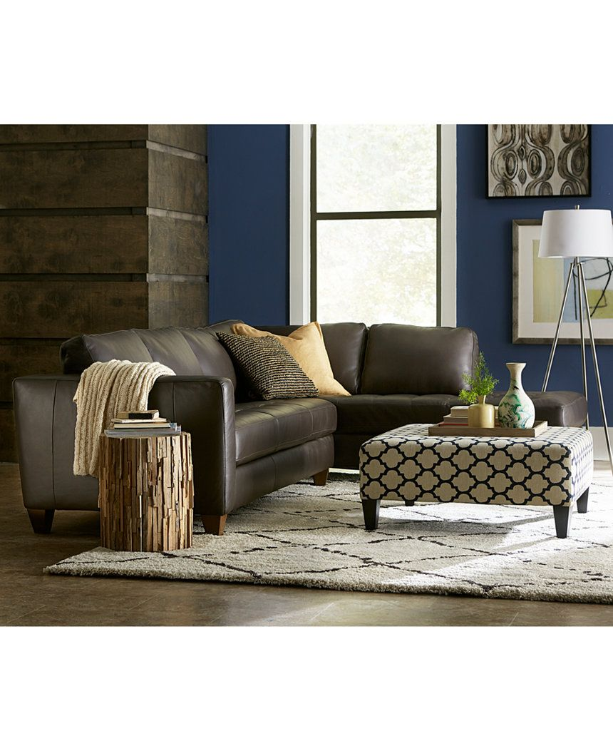 Milano Leather 2-Piece Chaise Sectional Sofa - Couches & Sofas - Furniture - Macy's