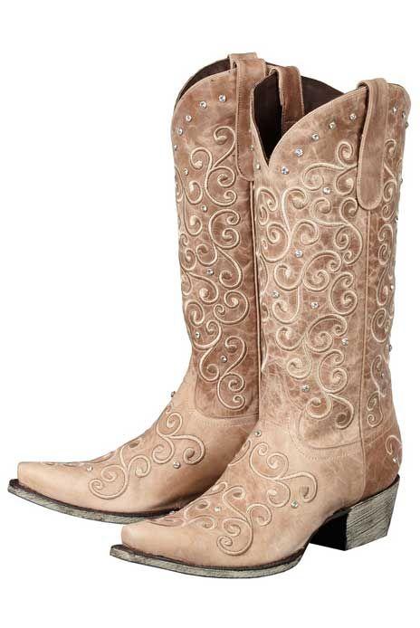 LB0045B Lane Western Boots Womens Cowboy Willow Rhinestones Taupe ...