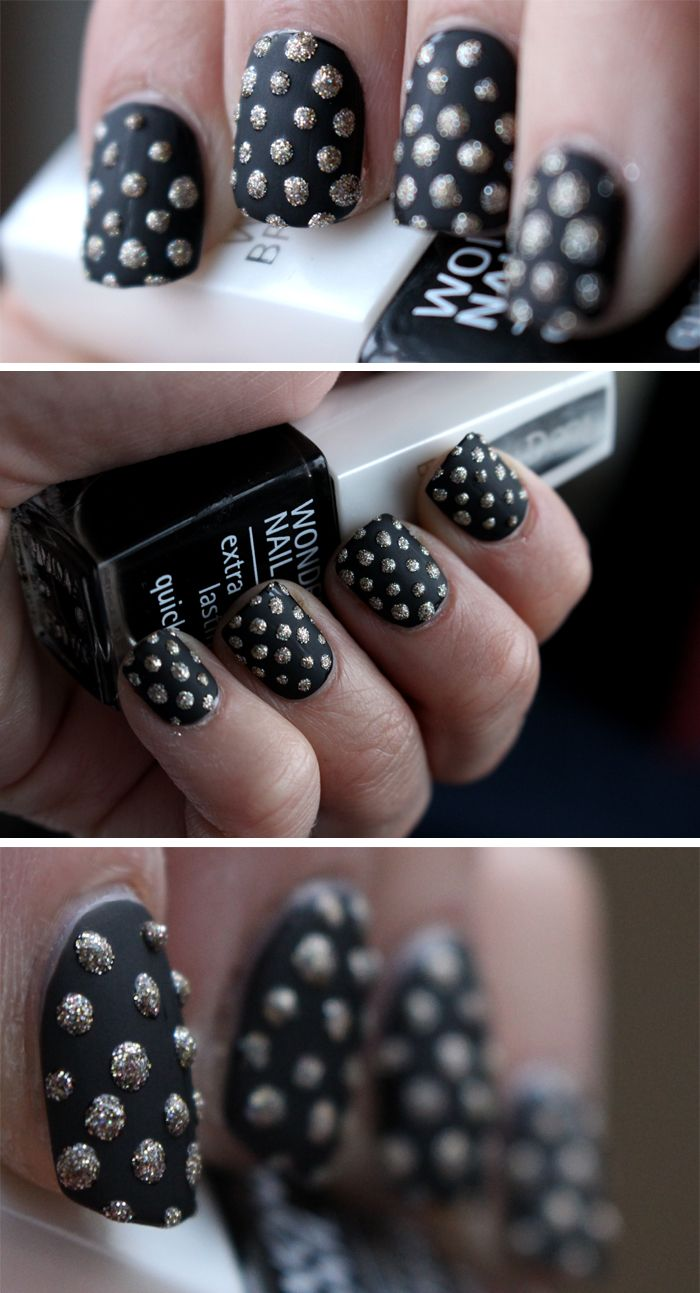 MATTE AND DOTTED | Isadora – black lacquere, China glaze – i´m not lion + matte top coat