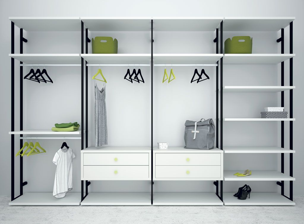Armario vestidor Opened blanco con estructura metlica en