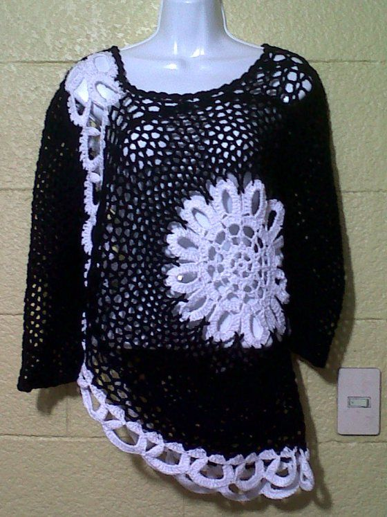 Crochet tunic. Design Idea - No Pattern.  Not fond of color combination but like design.