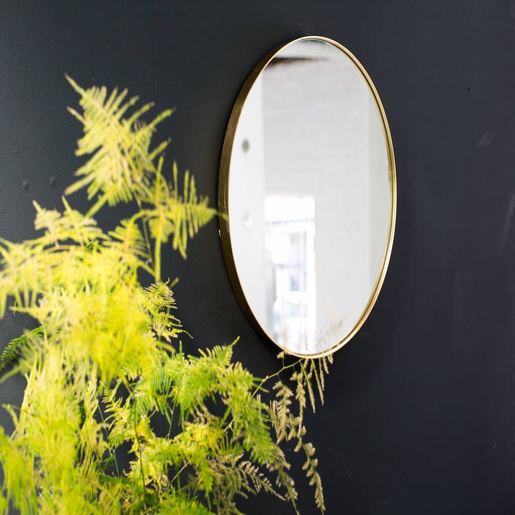 Gold Round Edged Mirror With Lip Gold wall mirror Gold walls and