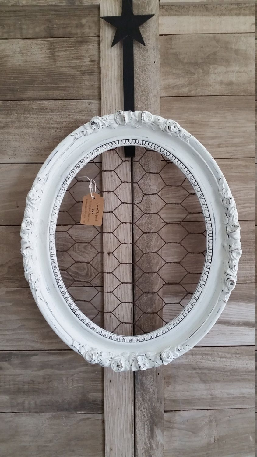 Ornate Oval Off White Distressed Wood Cottage Chic Chicken Wire