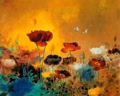 Mohnblumen Japanese Art Poppy Flower Painting Chinese Art Painting