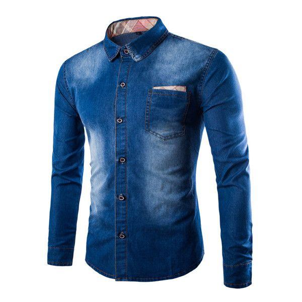 Casual Long Sleeve Slim Fit Denim Shirt - 2 Colors - M - XXL