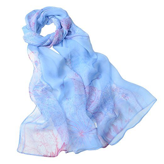 W ROYAL BL DRESS $14.99 Fashion Flower Ink Style Soft Silk Voile Scarf Wrap Shawl (Peony-Blue) at Amazon Women's Clothing store: