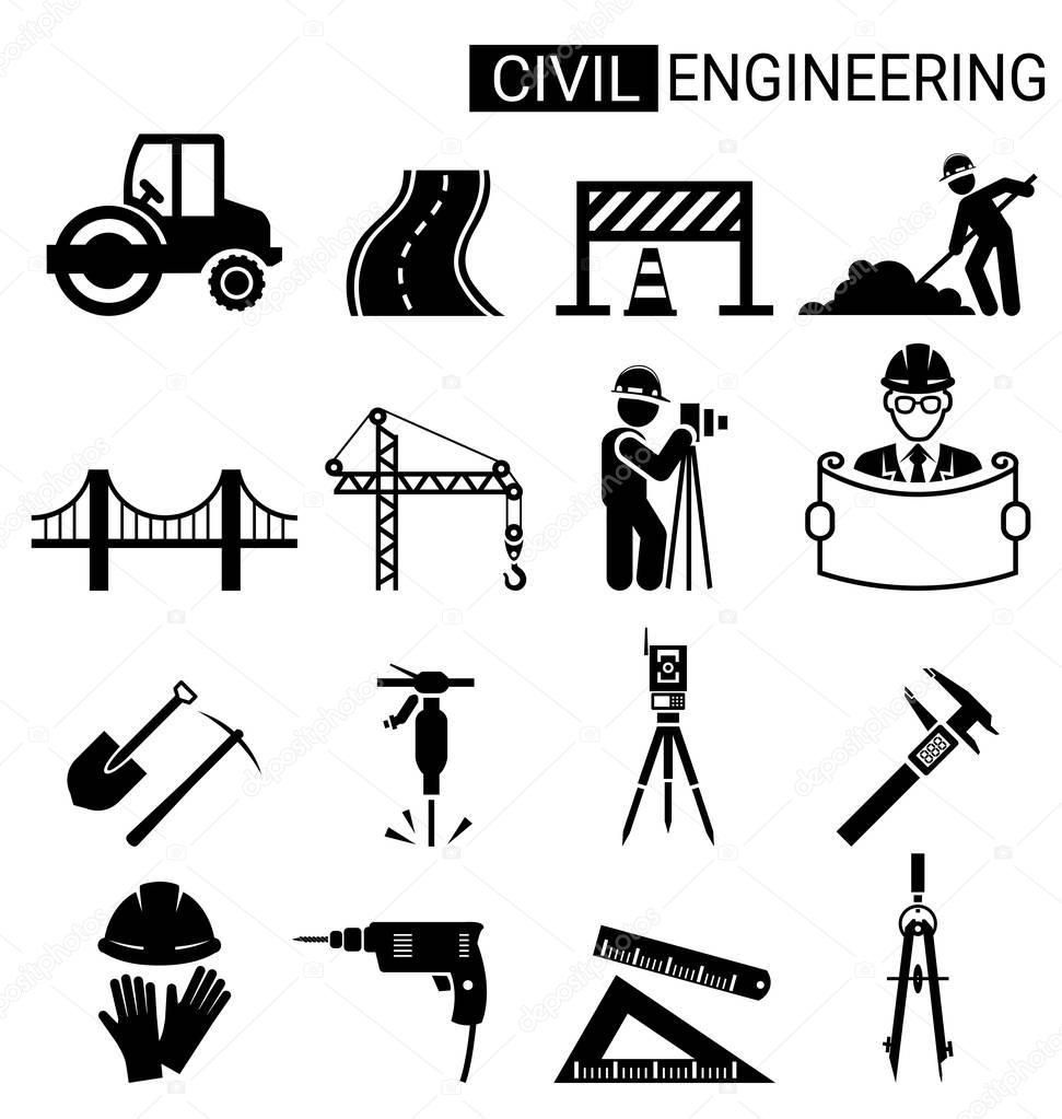 Set of civil engineering icon design for infrastructure