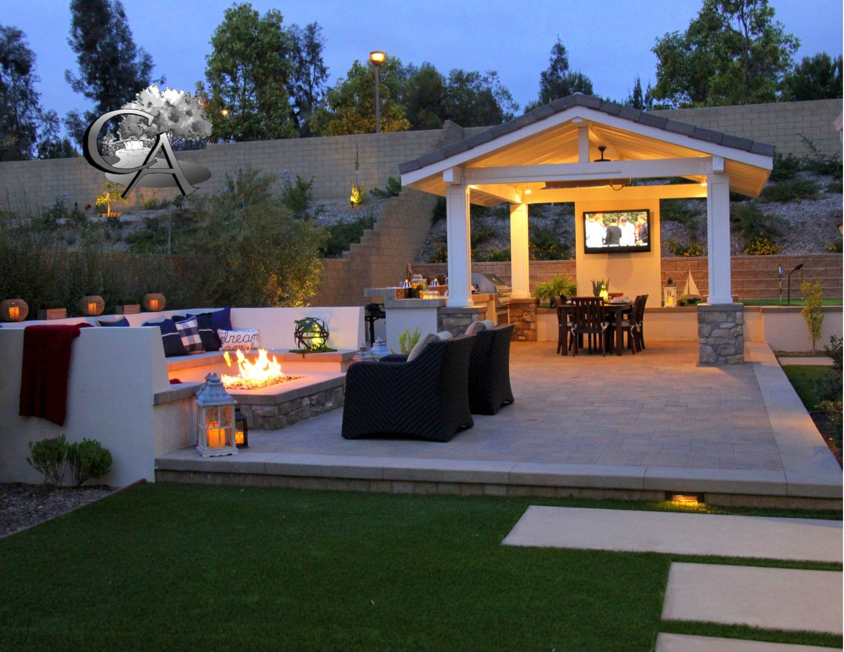 Cozy outdoor living space, fire pit, outdoor seating ... on Outdoor Living Space Company id=52791