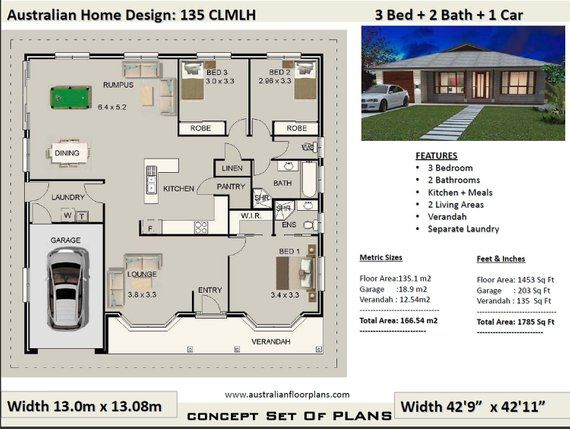 3 Bedroom Plans 166m2 1785 Sq Ft 3 Bedroom House Plans Etsy House Plans House Plans Australia Bedroom House Plans