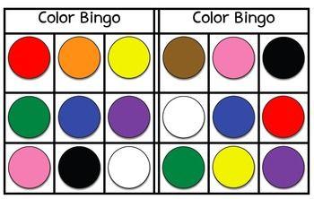 Free Color Bingo Bingo Preschool Colors Bingo Cards
