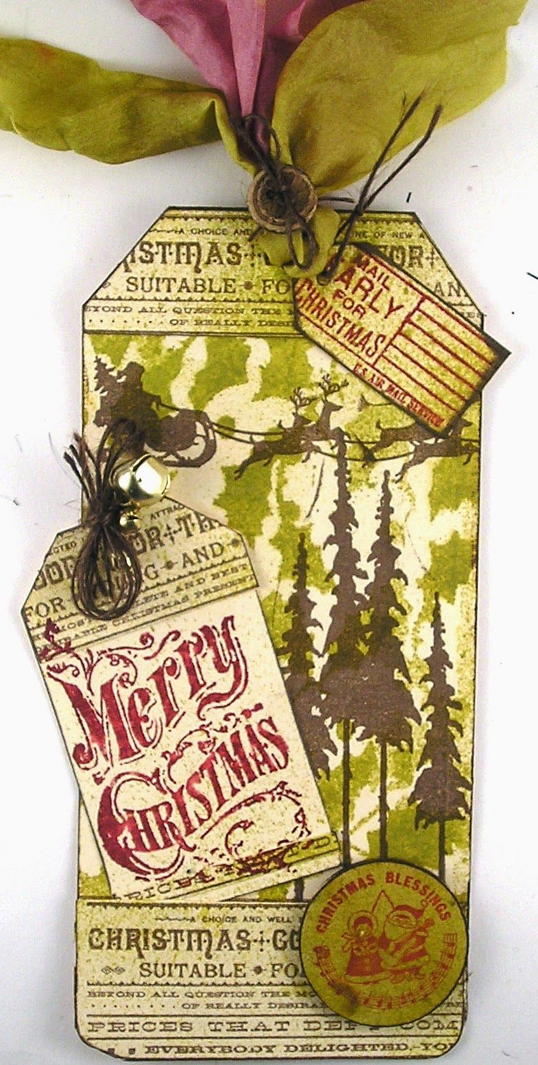 Suzz's Stamping Spot: Christmas Tag #1 using Tim Holtz, Ranger, Sizzix and Stamper's Anonymous products; Oct 2014