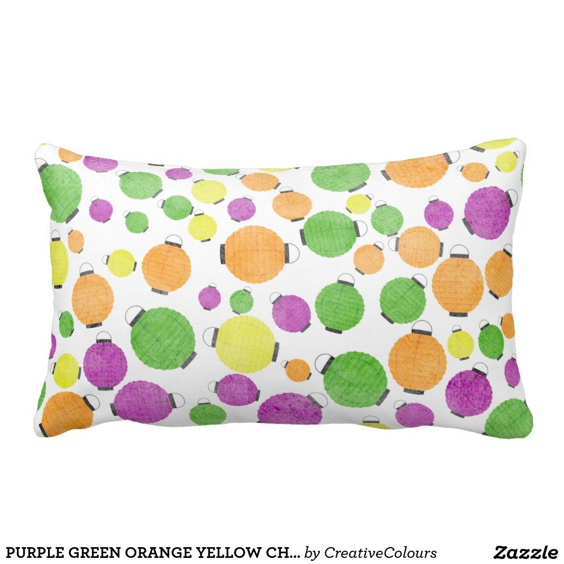 Purple green orange yellow chinese lanterns polkad throw pillow