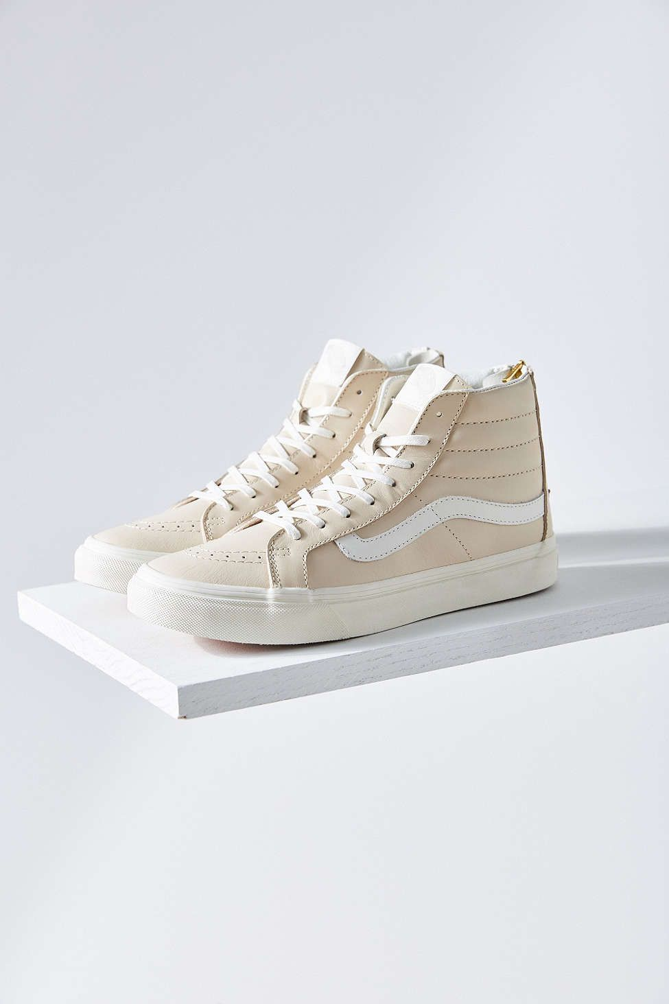 de369f4ac302 Vans Cream Leather Sk8-Hi Slim Sneaker  UrbanOutfitters