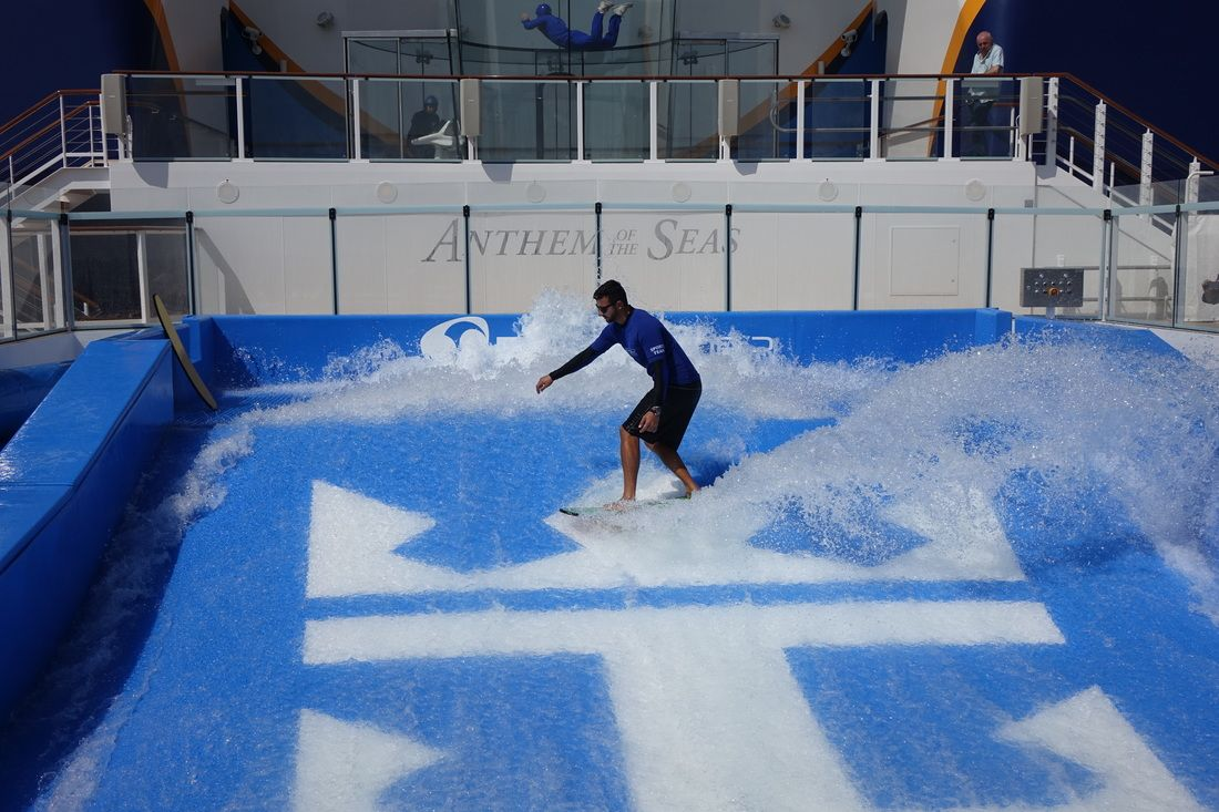 This looks fun! surfing on a cruise!, fabulous pic!>>FlowRider on Royal Caribbean Anthem of the Seas