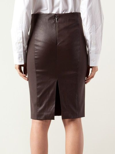 Brownie leather wool skirt from Brunello Cucinelli featuring an exposed back zip fastening, contrast side panels, and mid length