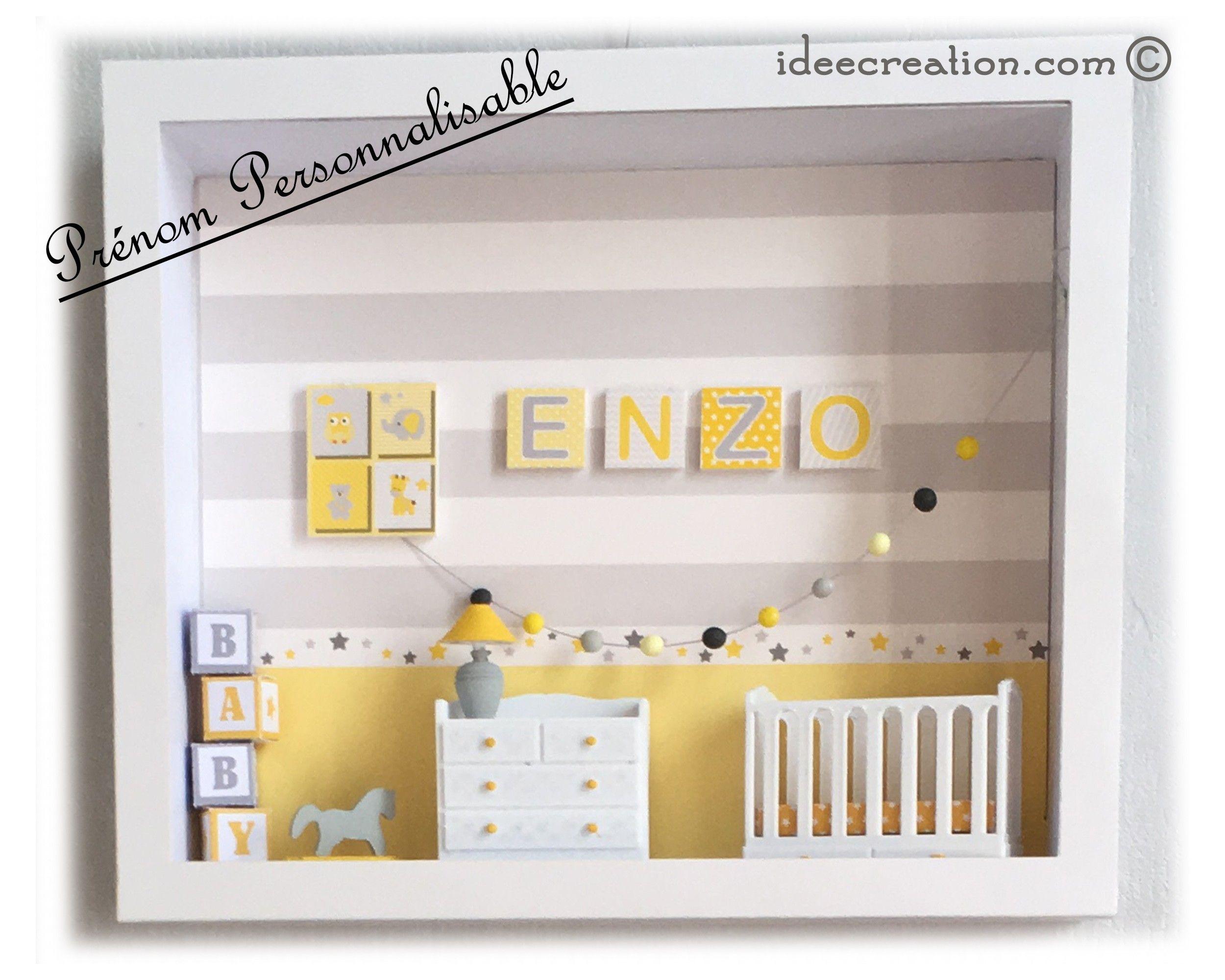 cadre prénom bebe, vitrine miniature de chambre, modèle bleu et