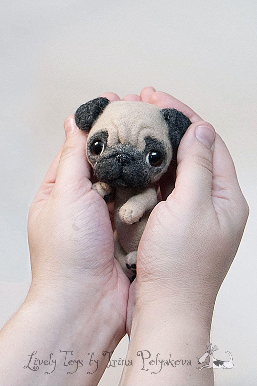 Needle felted pug by Irina Polyakova. #needlefelting #craft #handcraft #dog #cute #doggy #toy #wool_sculpture #livelytoys #inspiration #pug #smile #wee #ooak #art #Irina_Polyakova