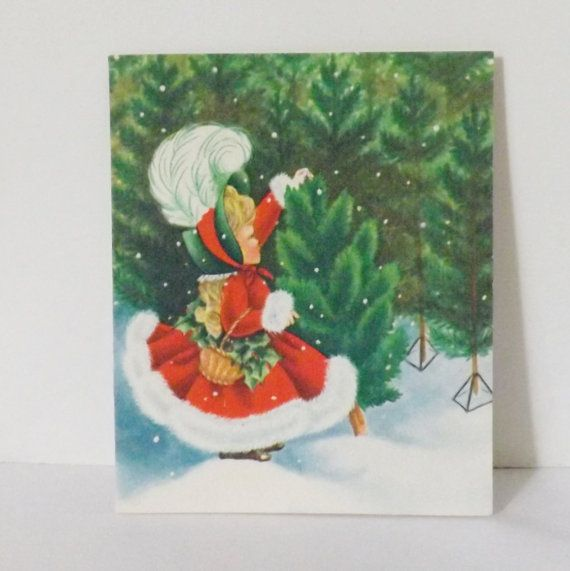 1940s Christmas Cards | Vintage 1940s 1950s Christmas card with Victorian little girl picking ...