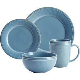 Rachael Ray 16-Piece Cucina Dinnerware Set in Agave Blue  sc 1 st  Pinterest : rachael ray 16 piece dinnerware set - pezcame.com