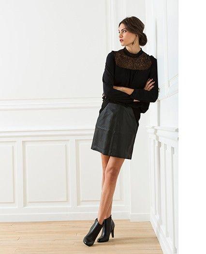 8f6f71861ae Idée look pour Noël   jupe en cuir + haut en dentelle
