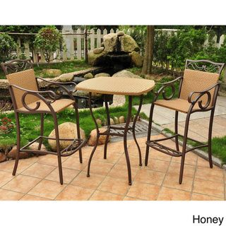 @Overstock - International Caravan Valencia Resin Wicker/ Steel 3-piece Bar-height Bistro Set - Enjoy an evening nightcap or cup of morning coffee on your porch with this outdoor bistro table and chairs. Its flat-woven wicker complements a durable, powdercoated steel frame for a modern look that doesn't detract from the natural ...