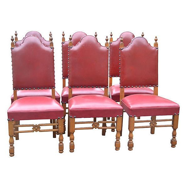 Pre Owned French Leather Chairs S 6 Leather Chair Nailhead Chair Floral Chair