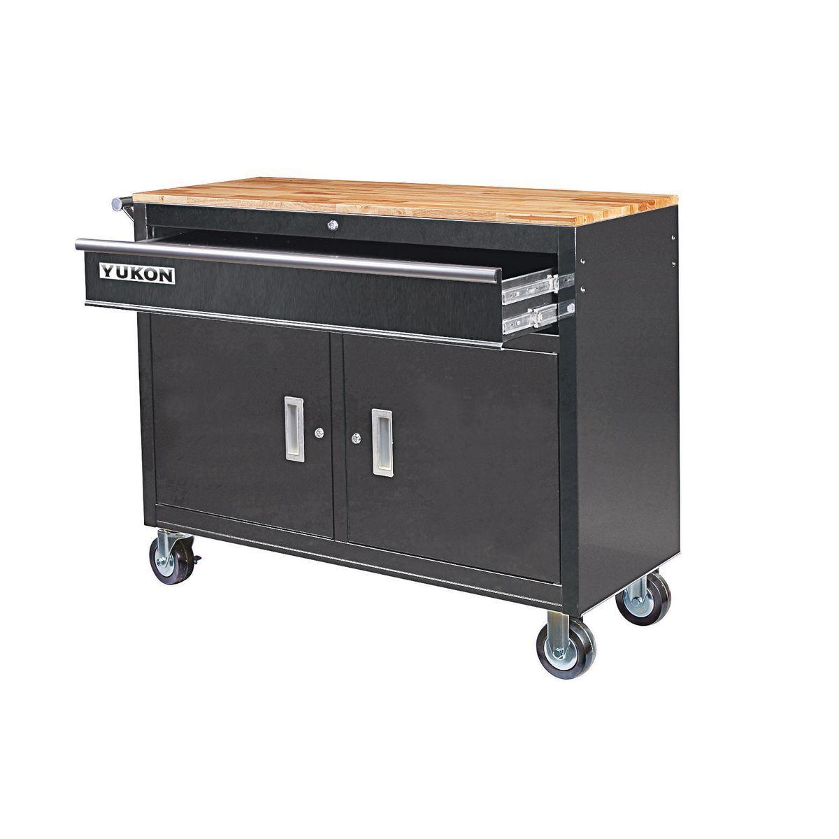 46 In Mobile Workbench With Solid Wood Top Black Mobile Workbench Metal Storage Cabinets Tool Storage Cabinets