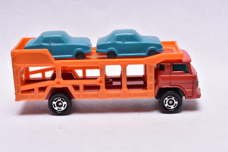 Vintage Tomica No.14 Toyota Car Carrier, Orange, 1970's
