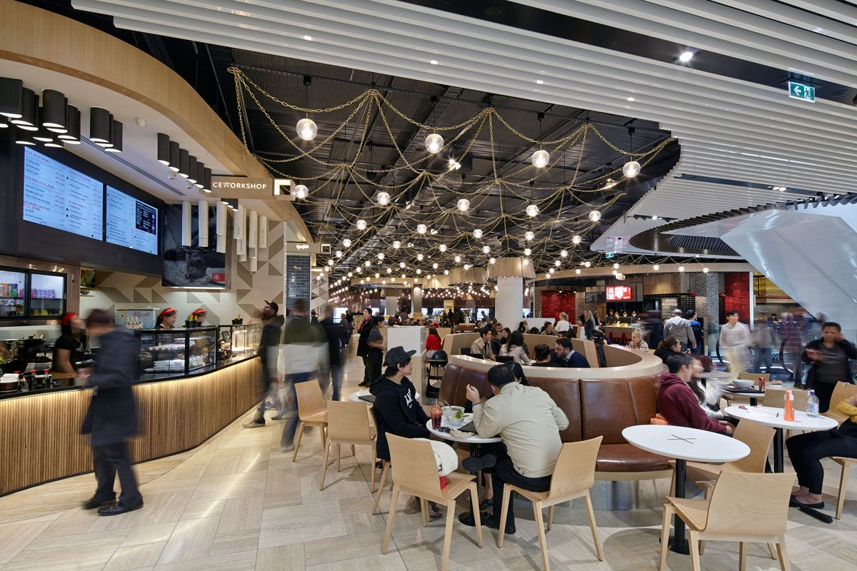 The Absolutely First Class Food Court At Emporium Shopping Centre  Melbourne, Featuring Lovely Signorino Travertine