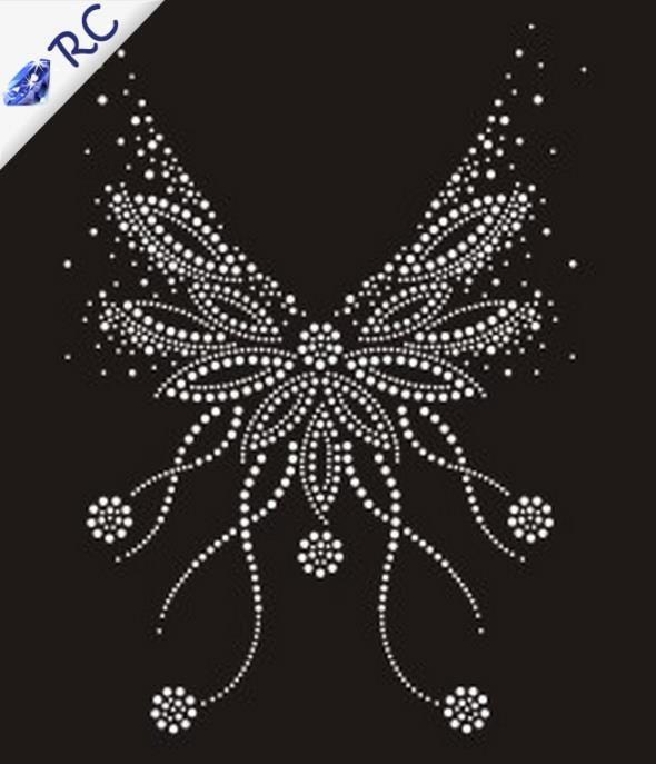 rhinestone template material wholesale - white neckline font b pattern b font rhinestone iron on