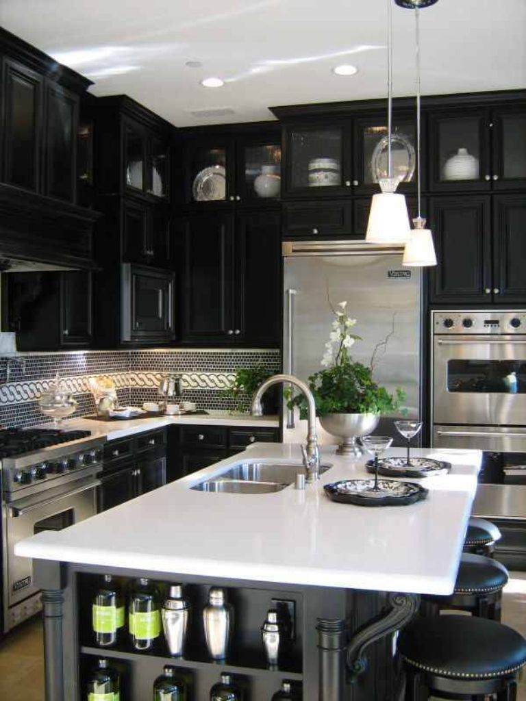 Black Cabinets White Counter Silver Appliances Beautiful Kitchens Home Kitchen Design