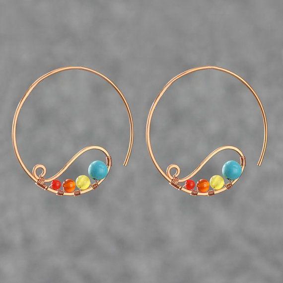 Copper Wiring Hoop Earring Handmade Ani Designs Earrings
